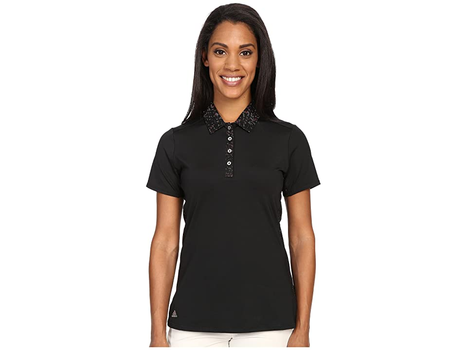 adidas Golf Essentials Sport Mesh Print Polo (Black) Women