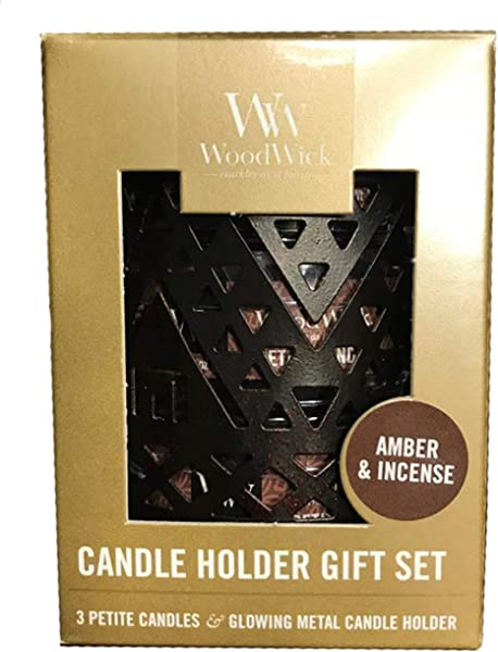 WoodWick Southwestern 3 Petite Candles Holder Gift Set Amber Incense
