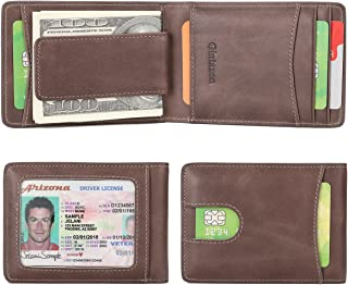 Slim Genuine Leather Front Pocket Wallet for Men with Magnetic Money Clip and RFID Blocking
