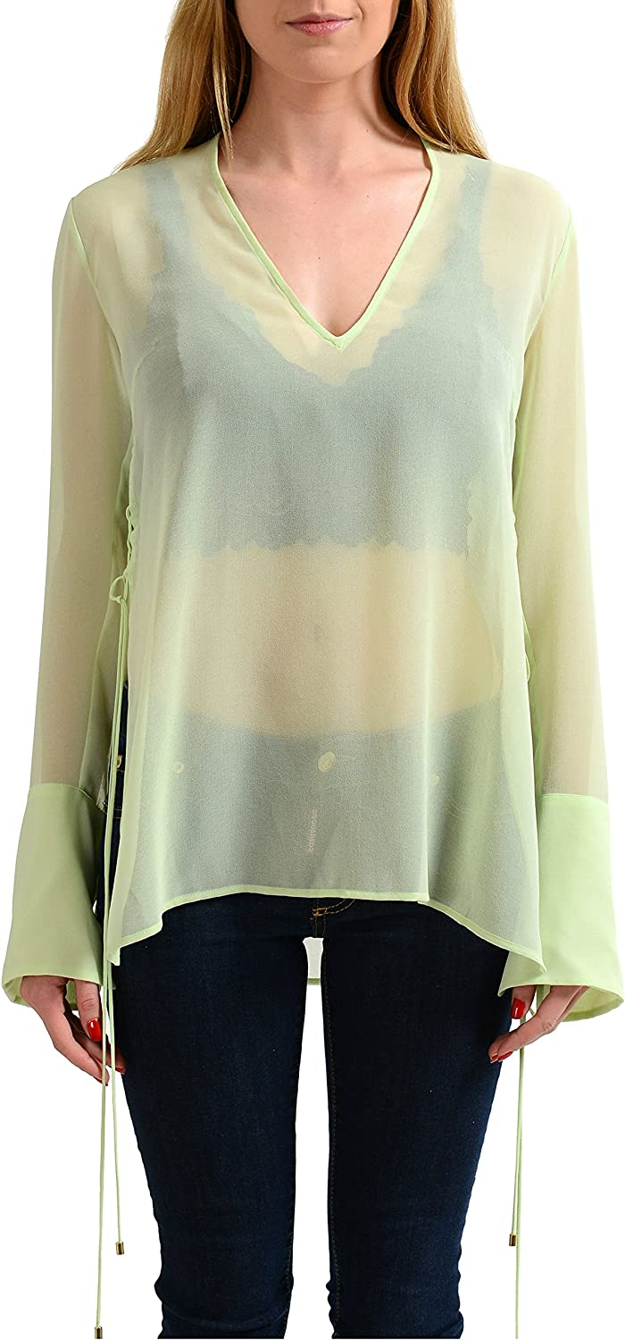 Just Cavalli Light Green Long Sleeves See Through Women's Blouse Top US S IT 40