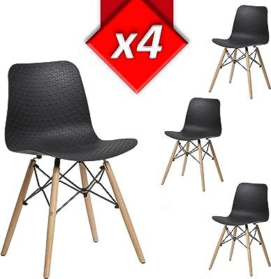 VS Venta stock Lot de 4 Chaises Valerie Noir avec Pieds en