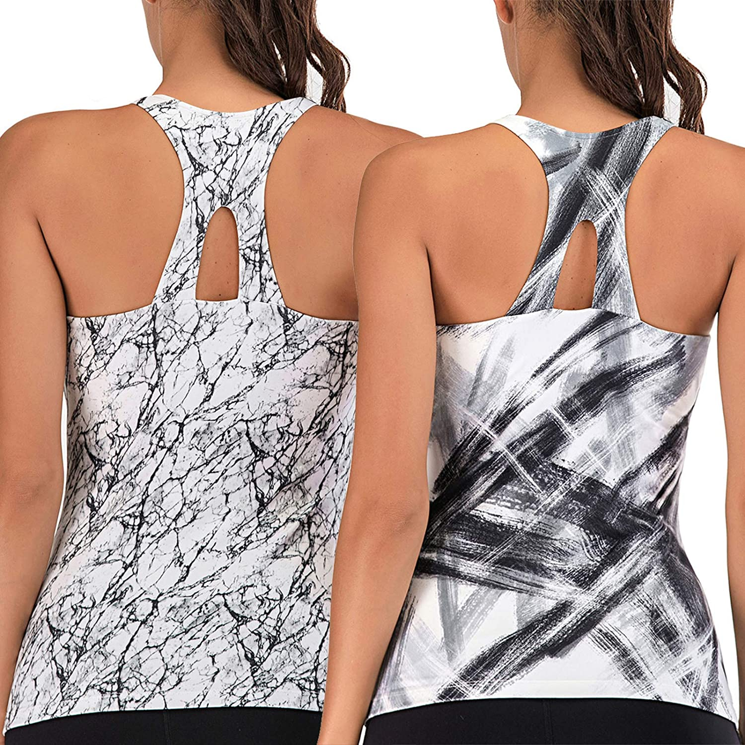 Womens Workout Tops with Built in Bra Yoga Racerback Exercise Running Gym Shirts Fitness Active Tank Tops 2 Pack