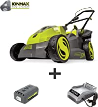 Sun Joe iON16LM 40-Volt 16-Inch Brushless Cordless Lawn Mower, Kit (w/4.0-Ah Battery + Quick Charger)