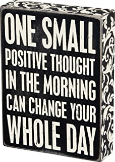 "Primitives by Kathy 22675 Floral Trimmed Box Sign, 6"" x 8"", Positive Thought"