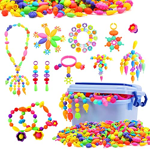 new arrival Snap new arrival Pop Beads for Girls, 580 PCS Kids Jewelry Making Kit Pop-Bead Art and Craft Kits DIY Bracelets Necklace and Rings Creativity Toy for 3, 4, 5, 6, 7, 8 Year Old outlet sale Girls outlet online sale
