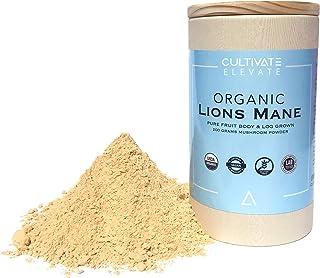 USDA Organic Lion`s Mane Mushroom Powder - (3 Month Supply + 100 Servings) Log Grown 100% Fruit Body, Vegan, Memory, Focus, Cognition, Mental Clarity, Nerve Health, 200g