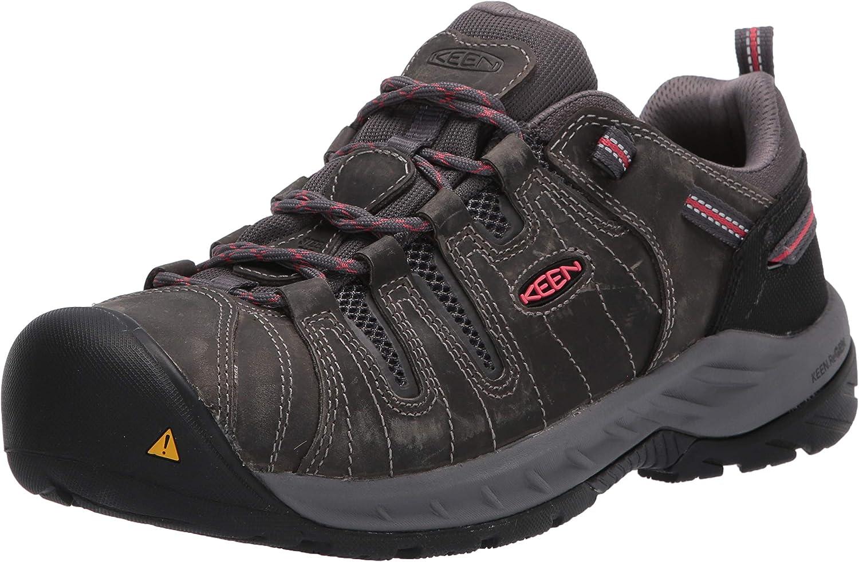 KEEN Utility Women's Flint 2 Low Steel Toe Non Slip Work Shoe, Magnet/Rose, 9.5 Wide US