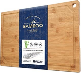 Hiware Extra Large Bamboo Cutting Board for Kitchen, Heavy Duty Wood Cutting Board with Juice Groove, 100% Organic Bamboo,...