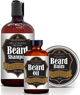 Stellar Naturals Beard Oil, Beard Balm and Beard Shampoo, 100% Natural and Organic Beard Kit for Grooming and Conditioning a Healthy Beard