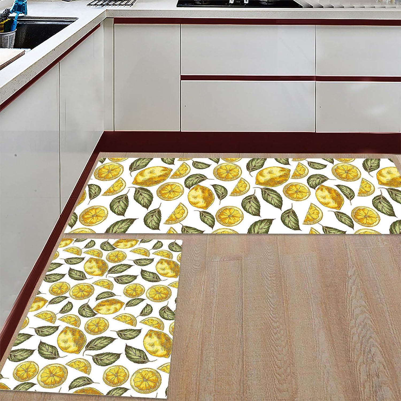 Ranking TOP1 Greday Anti Fatigue Set of 2 Max 64% OFF Sets Rug Kitchen Fresh Lemon Summer