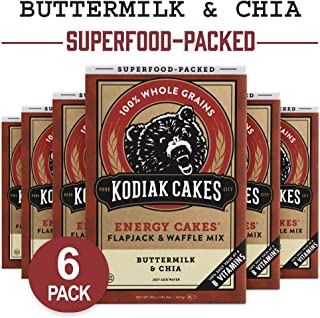 Kodiak Cakes Energy Cakes, Pancake, Flapjack and Waffle Mix, Buttermilk and Chia, 20 Ounce (Pack of 6)