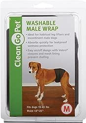 Clean Go Pet Washable Male Wrap — Reusable Wraps for Incontinent Male Dogs - Medium, Black
