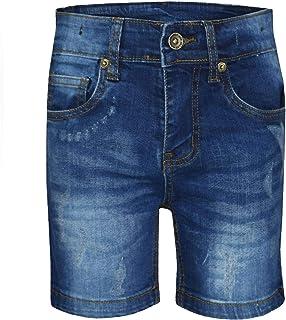 Kids Boys Denim Shorts Dark Blue Ripped Chino Bermuda Jeans Short Knee Length