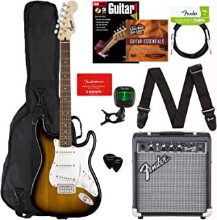 Fender Squier Stratocaster - Sunburst Bundle with Frontman 10G Amplifier, Gig Bag, Instrument Cable, Tuner, Strap, Picks, ...