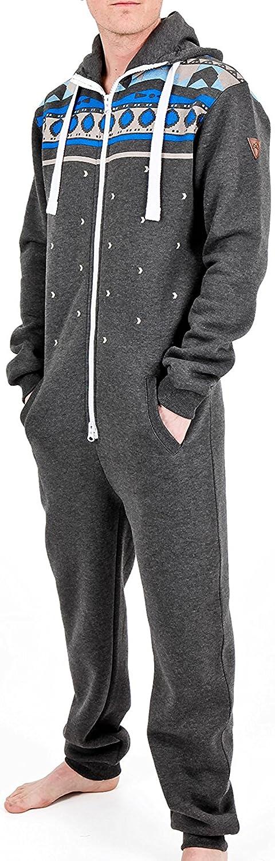 bedruckt Unisex Spielanzug Einteiler mit Kapuze Herren Einteiliger Schlafanzug ohne Fu/ß