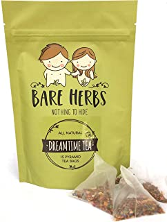 Stress Relief Tea – Bare Herbs Dreamtime Tea Provides Herbal Support for Sleep and Stress & Anxiety Relief   with Rose, Chamomile, Lavender, Rooibos, Mint and Lily (15 Pyramid Teabags)