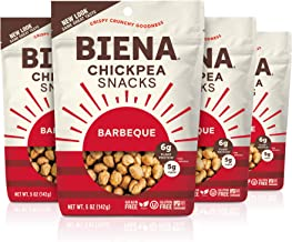 BIENA Chickpea Snacks, Barbeque   Gluten Free   Vegan   Dairy Free   Plant-Based Protein (4 Pack)