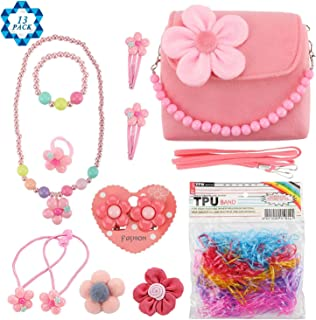 SOTOGO 13 Pieces Plush Purses Flower Handbag with Hair Clip, Necklace, Bracelet, Earrings Ring, Brooch and Rubber Bands fo...