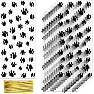 AIEX Pet Paw Print Cello Bags Pet Gift Bags with Gold Twist Ties for Pet Treat Party Favor (120 Pieces)