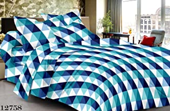 Roseate Vibes Cotton Fine Fabric Blue Bedsheet