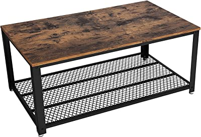 Benjara Metal Frame Coffee Table with Wooden Top, Brown and Black