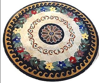 Indian Cottage Art and Crafts Table de salle à manger en marbre incrusté de pierres noires 122 cm