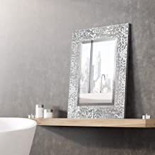 MIRROR TREND Rectangular Wall Mirror with Silver Mosaic Frame/1-Inch Premium Beveled Rectangle Silver Mirror for Vanity, Living Room, Bathroom or Entry Way/Hangs Horizontal or Vertical 16 x 20-Inch
