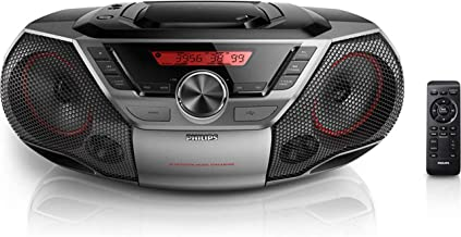 Philips Portable Boombox CD Player Bluetooth FM Radio MP3 Mega Bass Reflex Stereo Sound System with NFC, 12W, USB Input, H...