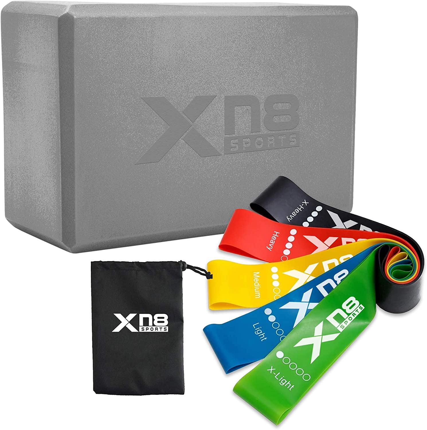 XN8 1 Max 71% OFF Pack Yoga Block 5 High-D Bands Bag Recommended with Resistance Workout