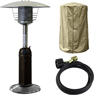 Hiland HLDS032-BBS-A 11,000 BTU Portable Table Top Patio Heater w/Cover and Adapter Hose, Small, Black Bundle