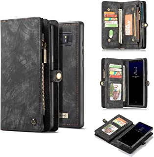 Galaxy Note 8 Case,AKHVRS Handmade Premium Cowhide Leather Wallet Case,Zipper Wallet Case [Magnetic Closure]Detachable Magnetic Case & Card Slots for Samsung Galaxy Note 8 - Black