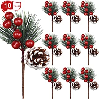 Rocinha Artificial Pine Picks Christmas Picks with Fake Berries Pinecones Christmas Gift Wrapping Decor 3.5 Inches Pack of 10