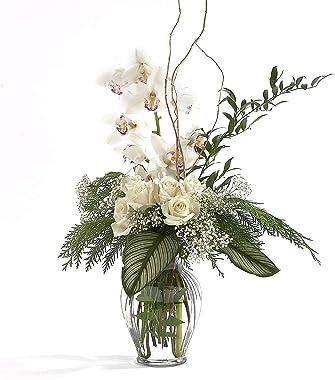 """Floral Supply Online 10 5/8"""" Clear Spring Garden Vase and Flower Guide Booklet - Decorative Glass Flower Vase for Floral"""
