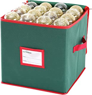 Sattiyrch Christmas Ornament Storage Box,600D Oxford Fabric Stores up-to 64 Standard Holiday Ornaments Holder,12 x 12 Inch...