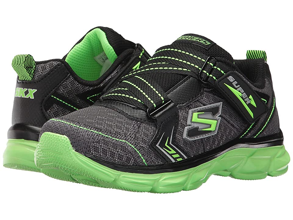 SKECHERS KIDS Advance Super Z Sneaker (Little Kid/Big Kid) (Charcoal/Black/Lime) Boy