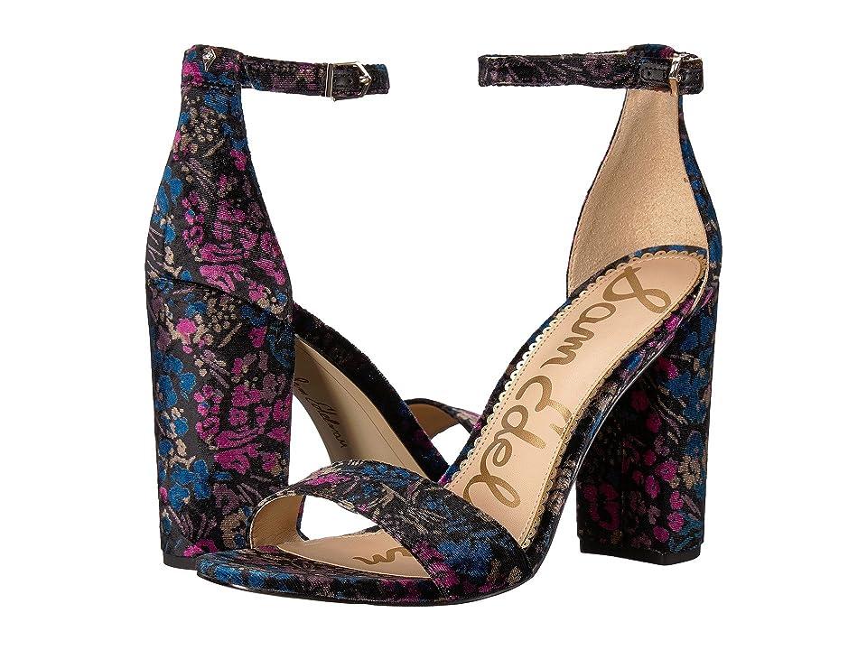 Sam Edelman Yaro Ankle Strap Sandal Heel (Black Multi Basilica Floral Velvet) Women