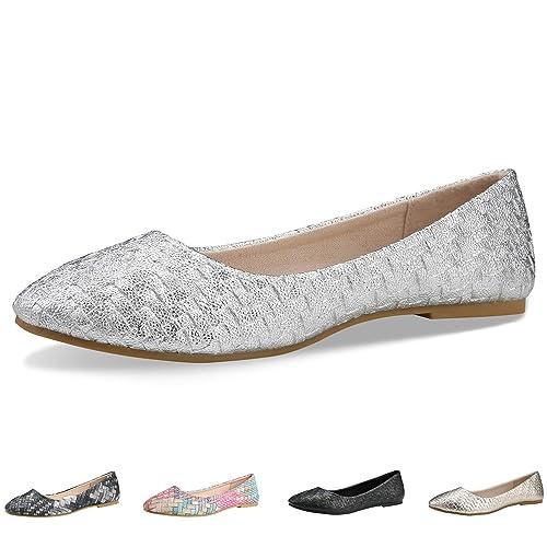 d50367e741c CINAK Walking Flats for Women Shoes Black Comfortable Ballet Simple  Ballerina Wide Width Working Slip On