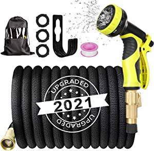 AQSURE 25ft Garden Hose, No Kink Expandable Water Hose with 3-Layers Latex and 10 Function Nozzle, Flexible Durable No-leak Garden Hose with 3/4
