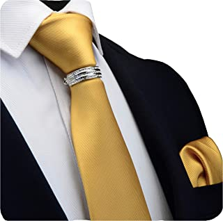 "GUSLESON Brand New 3.15""(8cm)Solid Color Necktie, Pocket Square and Tie Collar Clasp Set For Men + Gift Box"
