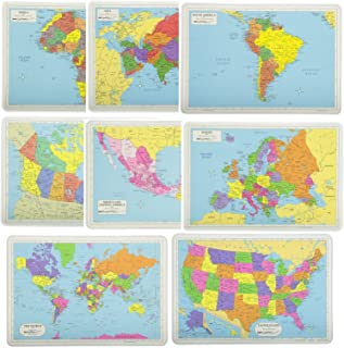 Painless Learning Educational Placemat Sets; USA, World, Europe, Asia, Africa, South America, Central America, Canada Maps...