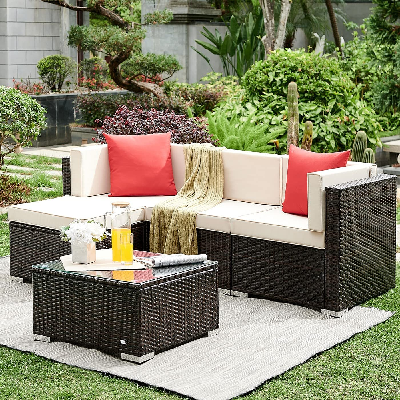 HONBAY Outdoor Patio Sectional Set Ratta Sofa Super Special SALE held 2021 new