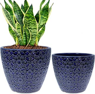 2 Pack Ceramic Plant Pots Indoor, DeeCoo Flower Pot Set 5.5 + 6.5 Inch, Blue Planters for Plants, Clay Plant Pots with Dra...