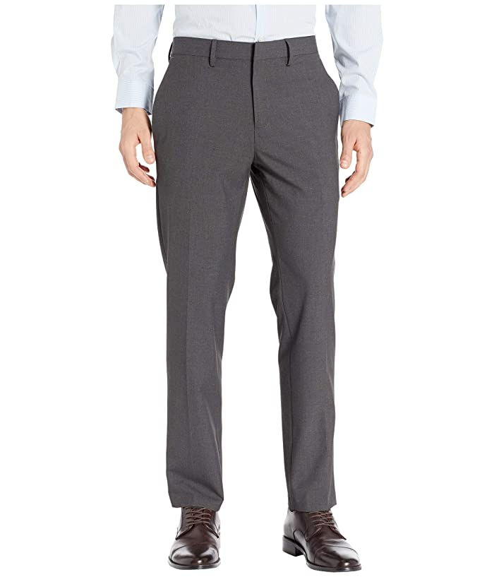 Kenneth Cole Reaction  Solid Gab Four-Way Stretch Slim Fit Dress Pants (Charcoal Heather) Mens Casual Pants