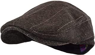 Men's Classic Herringbone Tweed Wool Blend Newsboy Ivy Hat (Large/X-Large, Charcoal)