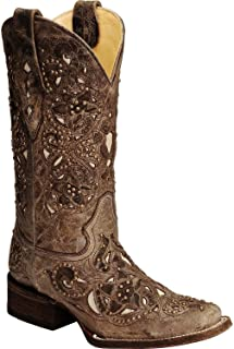 Women's Studded Cross Inlay Cowgirl Boot Square Toe
