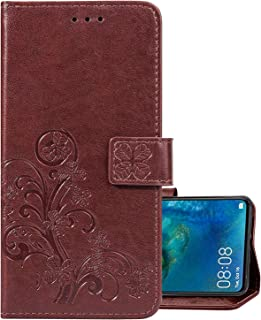 LEMORRY for BQ BQS 5050 Case Leather Flip Wallet Pouch Slim Fit Bumper Protection Magnetic Strap Stand Card Slot Soft TPU Silicone Cover for BQ BQS-5050 Strike Selfie, Happy Leaf Print (Brown)