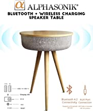 Alphasonik Decor Modern Home Portable Bluetooth Speaker 360 Surround HD Sound with 10 Speakers Drivers Built-in Qi Wireless Charger Dual USB AUX Inputs End Table Coffee Table Night Stand Piano MAPLE