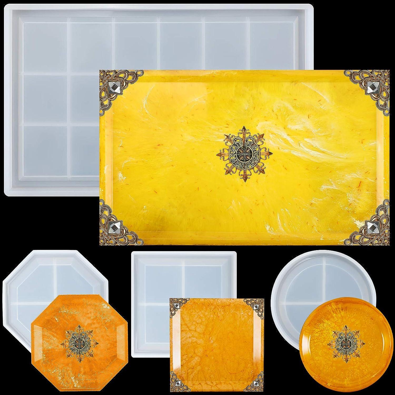 4 Pieces Ranking TOP19 Rolling Tray Mold Coaster Rec Include Silicone DIY Max 61% OFF