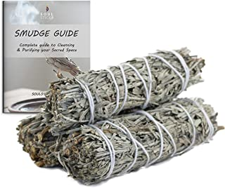 Ancientveda Blue Sage Smudge Sticks 3 Pack for Cleansing House, Meditation, Yoga, Negative Energy Cleanse, and Smudging wi...