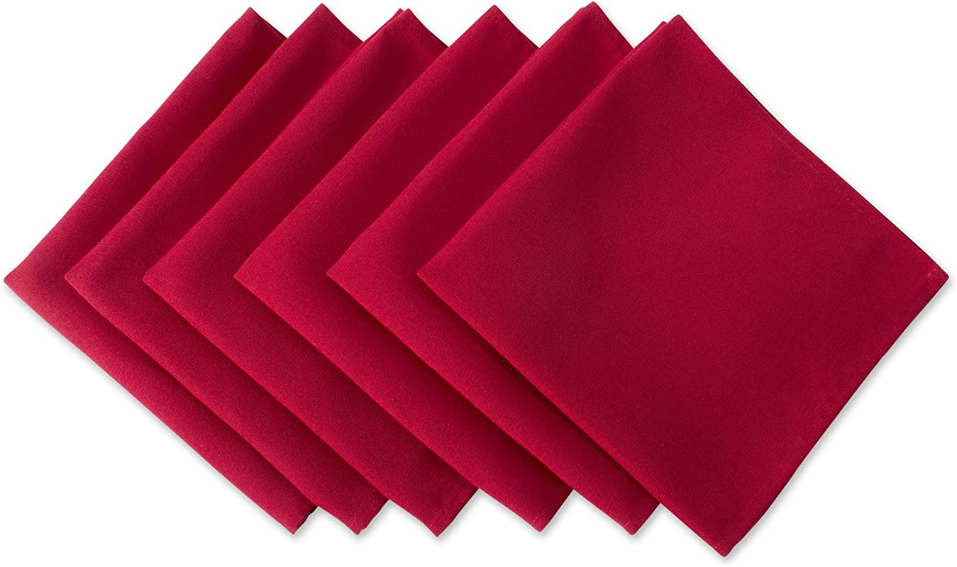 DII Wrinkle Resistant 20x20 Polyester Napkin Pack Of 6 Red Perfect For Brunch Catering Events Thanksgiving Dinner Parties Christmas And Everyday Use